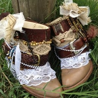 Custom order BOHO, GYPSY, Wedding boots for Lisa