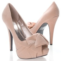 Qupid Women's NYDIA119 Open Peen Toe Bow Platform High Heel Stiletto Pump Shoes, Nude Beige Faux Suede, 7 B (M) US