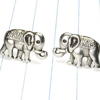 elephant earrings - elephant studs - elephant jewelry - elephant - animal earrings - animal jewelry - animal studs - metal studs - animal