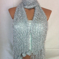 Knitted Shawl, Scarf (Silver), Christmas, gift by Arzu&#x27;s Style