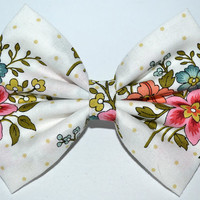 Multicolor Floral Hair Bow with Yellow Dots