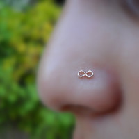 Infinity Nose Ring 14K Rose Gold Filled by Holylandstreasures