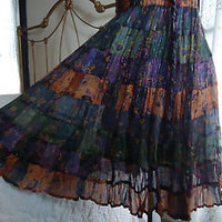 Artsy Boho Hippie Festival Gypsy Peasant Broomstick Skirt  One Size M - XL Tags