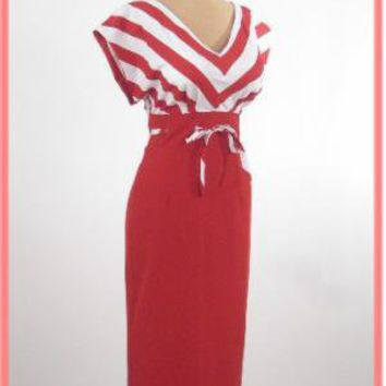 Red Nautical Inspired Pencil Dress-Bettie Page 50's Pinup Style Wiggle Dress