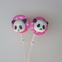 Pink Polka Dot Panda Earbuds