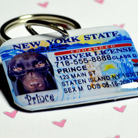 Pet ID Tags New York Driver License by ID4Pet on Etsy