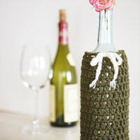 Wine Bottle Cozy in Sage