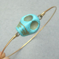Turquoise Skull Bangle Bracelet Style2 by turquoisecity on Etsy