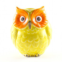 Mod Owl Ceramic Planter Figurine Hipster Kitsch Decor Neon Yellow and Orange / Vintage 70s