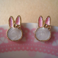 Bunny Earrings Rabbit Earrings with Bow by Bitsofbling on Etsy