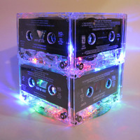 80s Music Lover MixTape Cassette Tape Night Light Lamp Centerpiece Colorful Rainbow Retro Decor