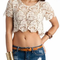 cropped crochet top &amp;#36;20.70 in BLACK IVORY RUST - Short Sleeve | GoJane.com