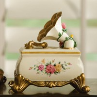 "Victorian Gramaphone Floral Music Box - ""Greensleeves"" By Collections Etc"