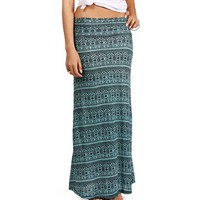 Mint/Black Diamond Tribal Maxi Skirt
