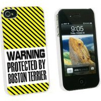 Warning Protected By Boston Terrier - Snap On Hard Protective Case for Apple iPhone 4 4S - White