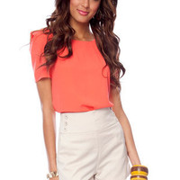 Shoulder Cuff Top in Coral :: tobi