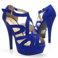 Qupid Women's CHANCE02 Strappy Open Toe Ankle Strap Platform High Heel Stiletto Pump Sandal Shoes, Cobalt Blue, 8.5