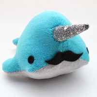Narwhal Plush  Teal Grey w/  Sparkle Tooth and by OstrichFarm