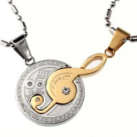 Musical Note Couple Matching Set Gold / Silver Color Pendants Necklace: Jewelry