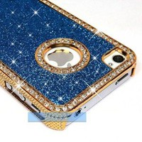 Amazon.com: LiViTech Cushion Quilted Designer Diamond Rhinestone Crystal Bling Case iPhone 4 4S (AT&T ,VERIZON,SPRINT) (Sparkly L Blue): Cell Phones & Accessories