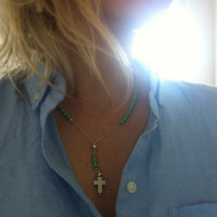 Turquoise and sterling silver rosary inspired necklace