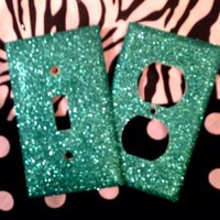 Glittered Aquamarine Outlet/Light Switch Set