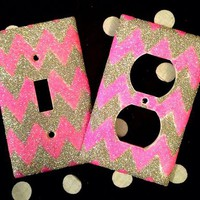 Glittered Chevron Outlet/Light Switch Set