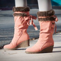 DeBlossom Olinda-2 Dusty Pink Fur Trimmed Wedge Boot - Shoes 4 U Las Vegas