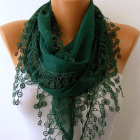 Etsy - Emerald Green Scarf  - Cotton  Scarf - Headband Necklace Cowl with Lace Edge   -