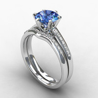 engagement ring set, light blue sapphire, engagement, Diamond band, wedding ring set, curved, sapphire, violet, solitaire, diamond, blue