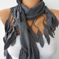 Etsy - Women Pashmina  Scarf  - Cotton Scarf - Headband - Cowl with Lace  Edge - Gray/76940764