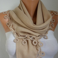 Etsy -Women Pashmina  Scarf  - Cotton Scarf - Headband - Cowl with Lace  Edge - Beige/76835565