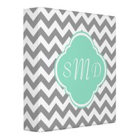 Grey & White Chevron Stripe Custom Monogram Binders from Zazzle.com