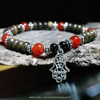 Acceptance Bronzite and Carnelian Meditation Bracelet                - Stretch