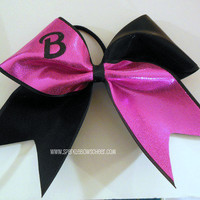 Barbie Pink/Black  Large Cheer Bow Hair Bow Cheerleading