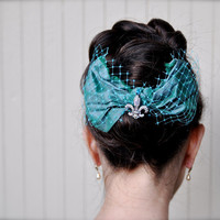 Girls or women teal blue bow with rhinestone by TutusChicBoutique