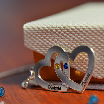 Personalized Heart in Heart Necklace in Sterling Silver