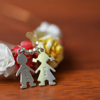 Sterling Silver Mother Necklace with Children Charms