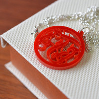 Circle Monogram Acrylic Color Necklace