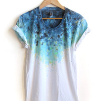 "The Original ""Splash Dyed"" Hand PAINTED Scoop Neck Pinned Rolled Cuffs Tee in White Spectrum Starscape - S M L XL 2XL 3XL"