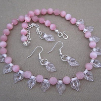 Pink Frosted Glass Beaded Strand Necklace with Earrings Mom or Prom