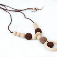 Chocolate Crochet Nursing Mom Necklace - Breastfeeding/Teething Necklace - Spring fashion Jewelry in brown and mocha. Mother&#x27;s Day Gift