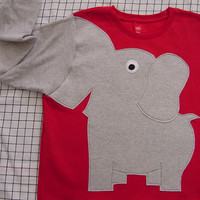 Fun Elephant Trunk sleeve sweatshirt ladies XL BRIGHT RED