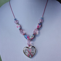 Pink Ribbon Breast Cancer Awareness Pink Beaded Heart Pendant Necklace