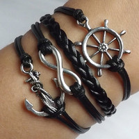 Control of their own - sailing world - ancient silver rudder - Unlimited - anchor woven leather bracelet