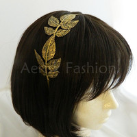 STEAMPUNK metal leaf bronze headband - Grecian goddess floral leaves