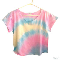 OMBRE PASTELS Tie Dye Ombre Pastels Crop Top Retro Custom Shirt