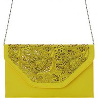 Neon Yellow Clutch with Floral Cut Out Detail&amp;Gold Undertone