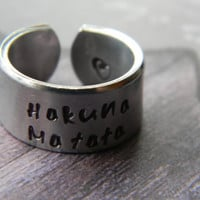 Hakuna Matata 3/8 inch wide aluminum ring cuff style Version I