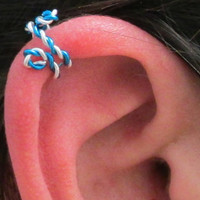 Spiral Ear Cuff, Ear Wrap  - Twisted Blue &amp; Silver, No Pierce
